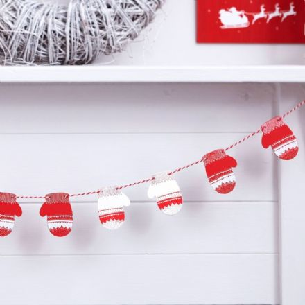 Red and White Christmas Mittens Bunting / Garland - 1.5M